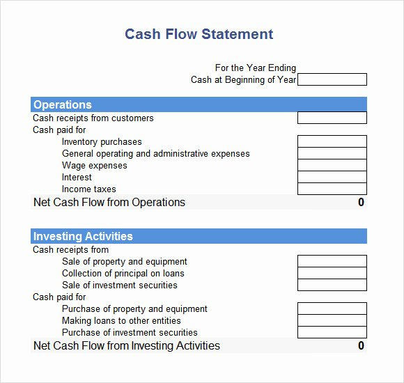 Cash Flow Template Excel Free Elegant Cash Flow Statement 9 Free Samples Examples format