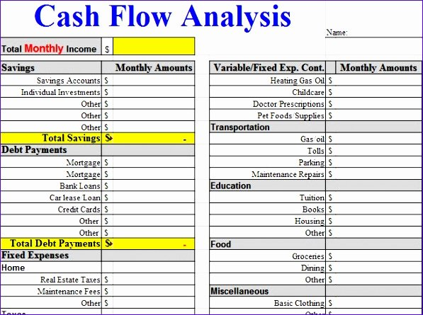 Cash Flow Template Excel Free Inspirational 6 Free Cash Flow Template Excel Exceltemplates