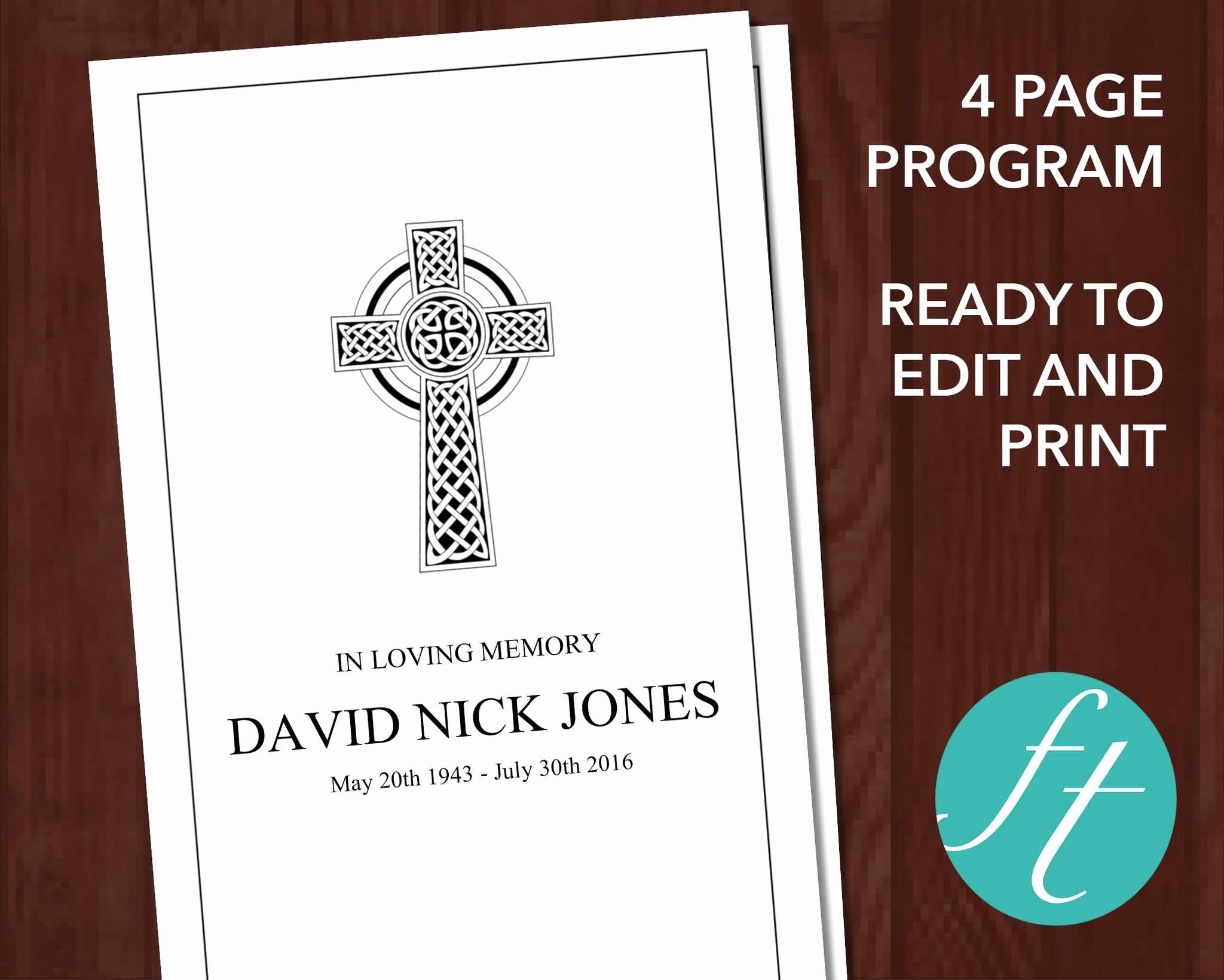 Catholic Funeral Program Templates Inspirational 4 Page Catholic Cross Funeral Program Template – Funeral