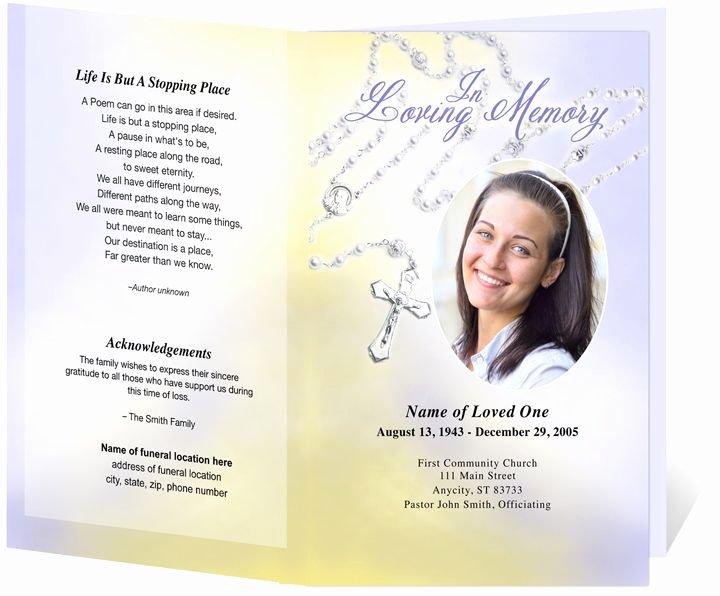 Catholic Funeral Program Templates Inspirational Catholic Funeral Programs Beads Single Fold Program