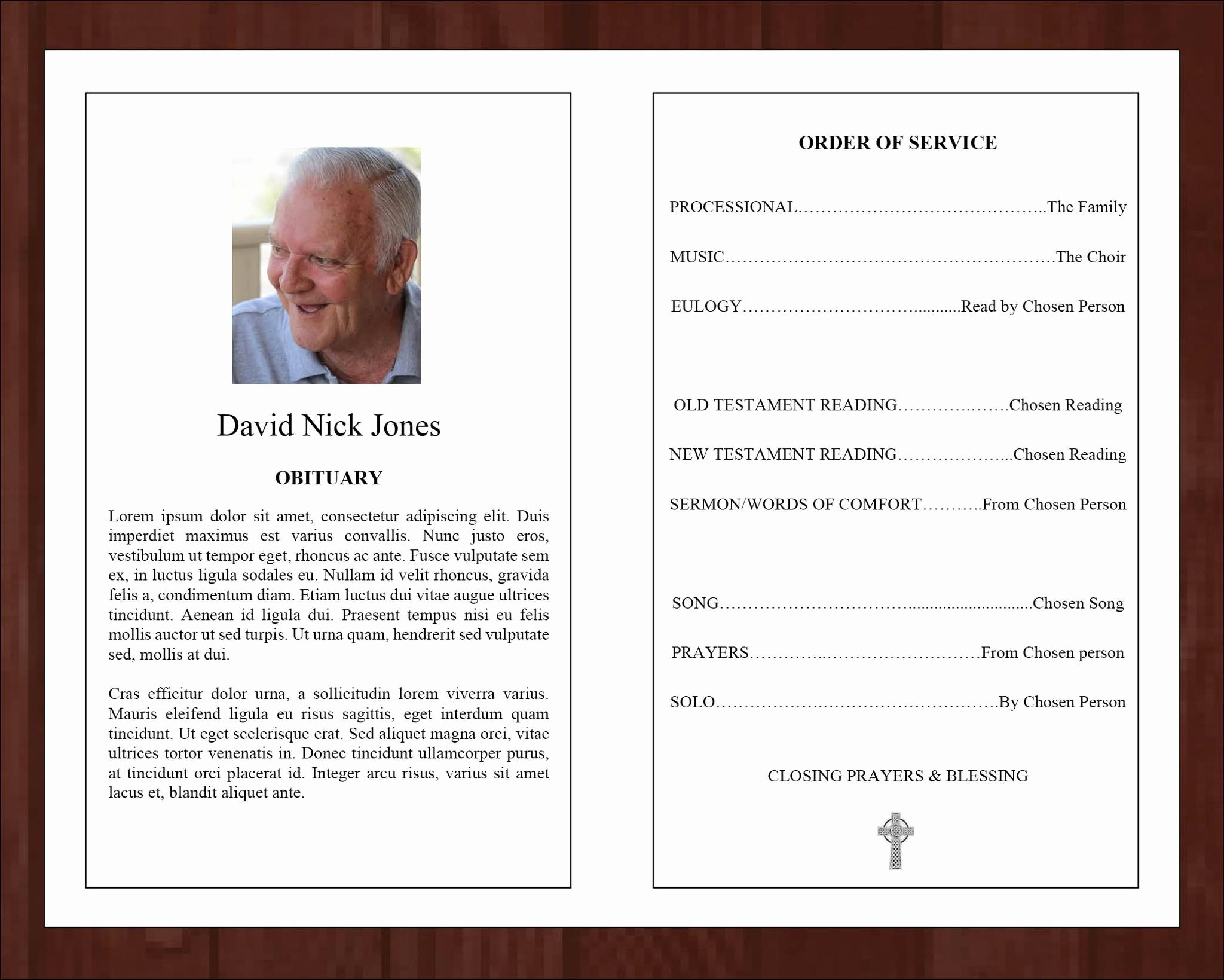 Catholic Funeral Program Templates Lovely 4 Page Catholic Cross Funeral Program Template – Funeral