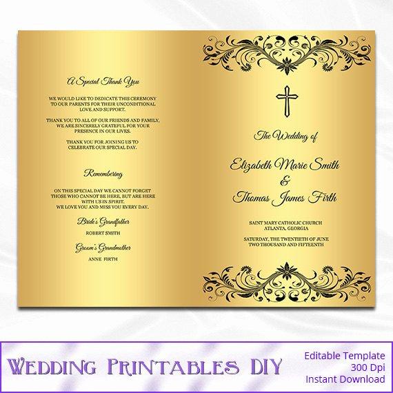 Catholic Wedding Program Templates Free Elegant Catholic Wedding Program Template Diy by Weddingprintablesdiy