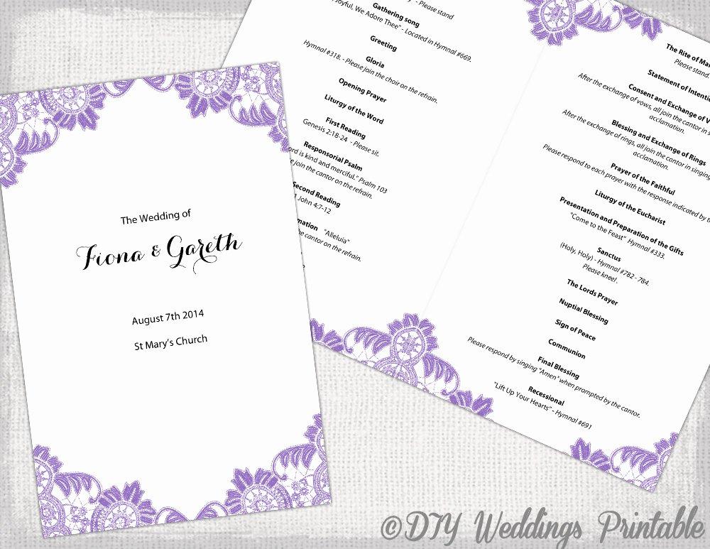 Catholic Wedding Program Templates Free Fresh Catholic Wedding Program Template Wisteria Lavender