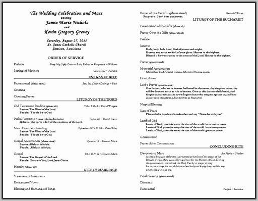 Catholic Wedding Program Templates Free Inspirational Free Catholic Wedding Program Template without Mass
