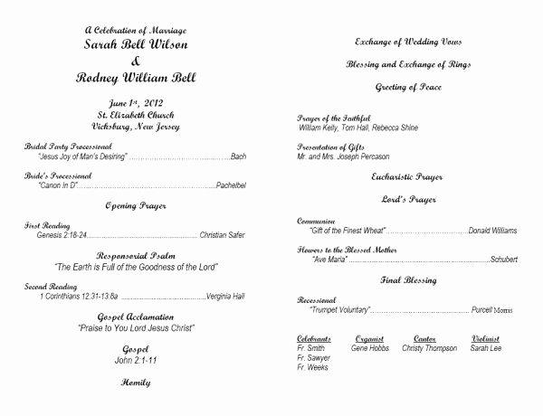 Catholic Wedding Program Templates Free Inspirational Image From Template