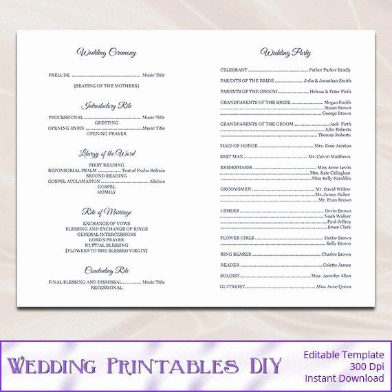 Catholic Wedding Program Templates Free Luxury Catholic Wedding Program Template Diy Navy by