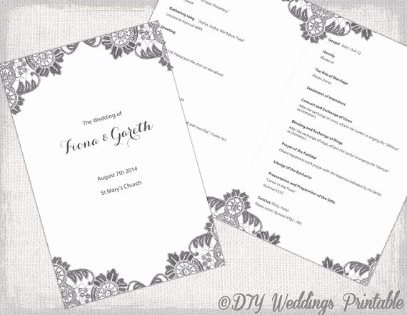 Catholic Wedding Program Templates Free New Diy Catholic Wedding Program Template Charcoal Gray