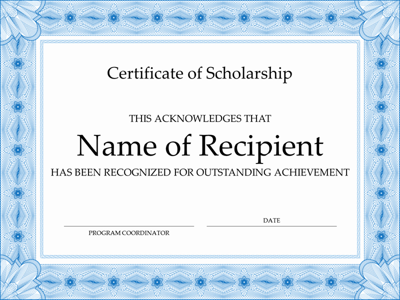 Certificate Borders for Word Luxury Certificate Of Scholarship formal Blue Border