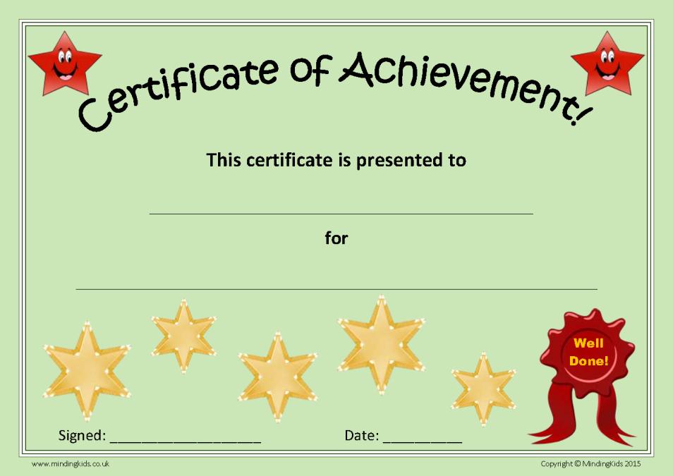Certificate Of Achievement Beautiful Certificates & Rewards Pack Mindingkids