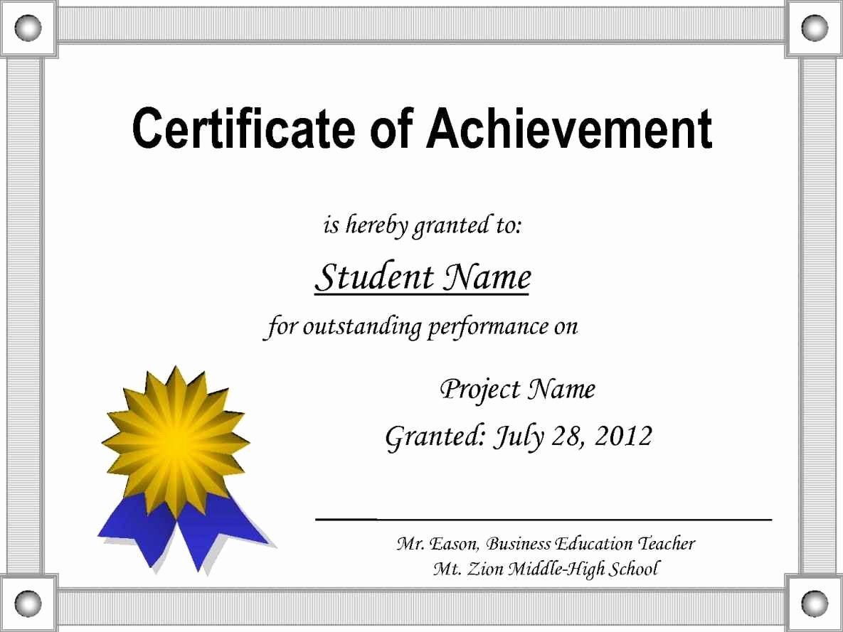 Certificate Of Achievement Elegant Editable Certificate Achievement Template Update234