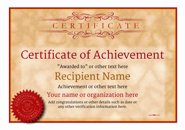 Certificate Of Achievement Fresh Certificate Of Achievement Free Templates Easy to Use