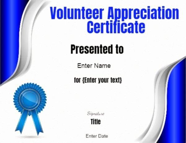 Certificate Of Appreciation for Volunteers Beautiful Volunteer Certificate Of Appreciation