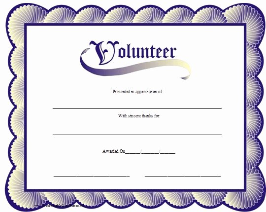 Certificate Of Appreciation for Volunteers Best Of A Printable Volunteer Certificate with A Blue Scalloped