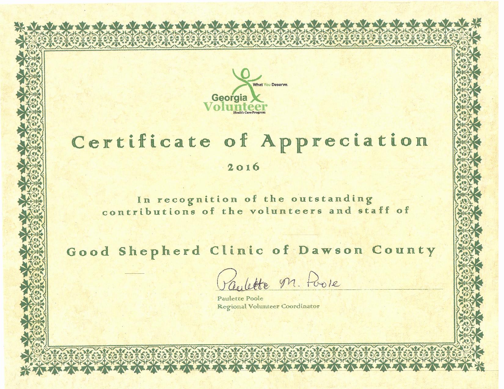 Certificate Of Appreciation for Volunteers Best Of Volunteer the Good Shepherd Clinic