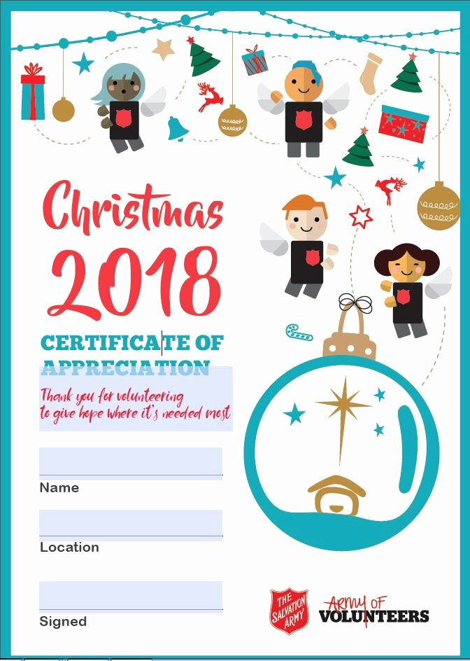 Certificate Of Appreciation for Volunteers Inspirational events Christmas