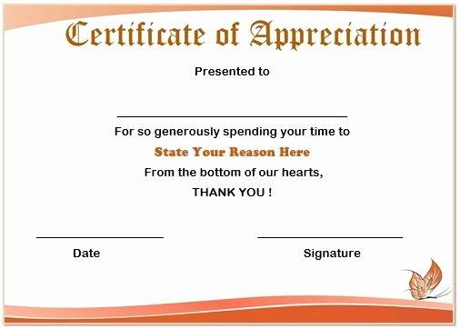 Certificate Of Appreciation for Volunteers Inspirational Examples Volunteer Certificates to Pin On