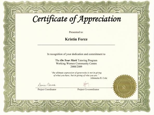 Certificate Of Appreciation for Volunteers Inspirational Neighbour Note Teacher Appreciation