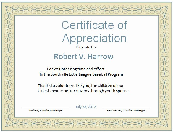 Certificate Of Appreciation for Volunteers Inspirational Word Certificate Template 49 Free Download Samples