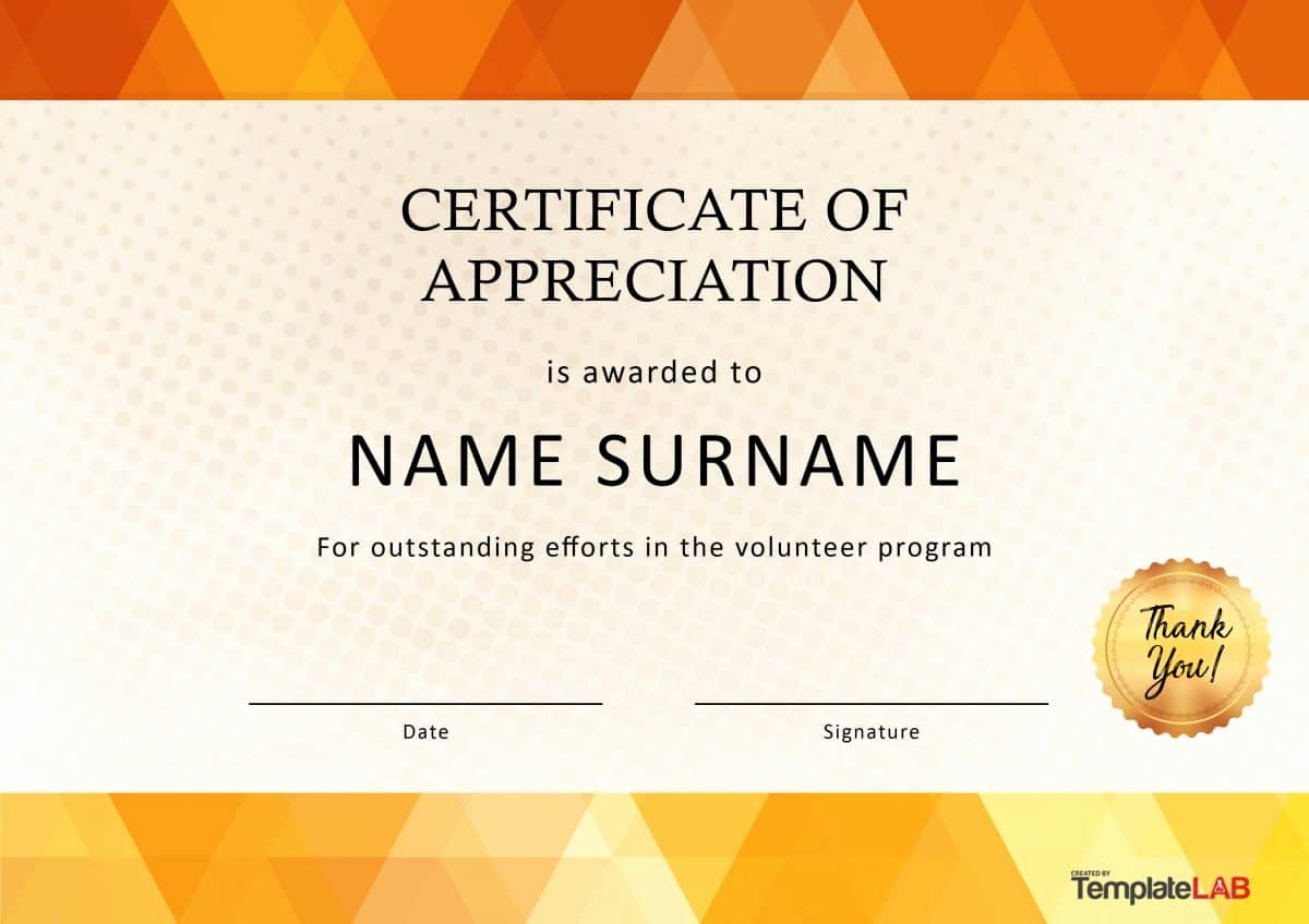 Certificate Of Appreciation for Volunteers Lovely 30 Free Certificate Of Appreciation Templates and Letters