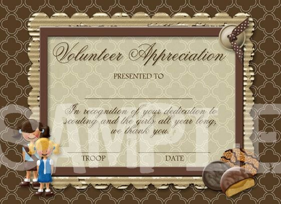 Certificate Of Appreciation for Volunteers Lovely Girl Scouts Volunteers and Girls On Pinterest