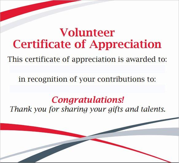 Certificate Of Appreciation for Volunteers Lovely Sample Volunteer Certificate Template 13 Documents In