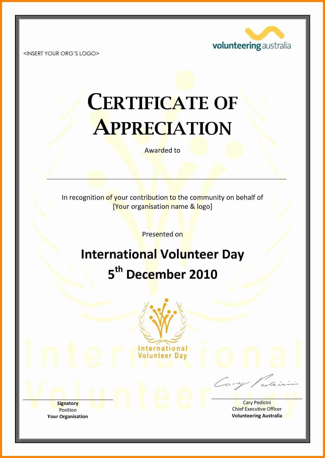 Certificate Of Appreciation for Volunteers Luxury Volunteer Appreciation Certificate Template