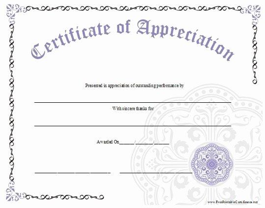 Certificate Of Appreciation for Volunteers New An ornate Certificate Of Appreciation with A Large