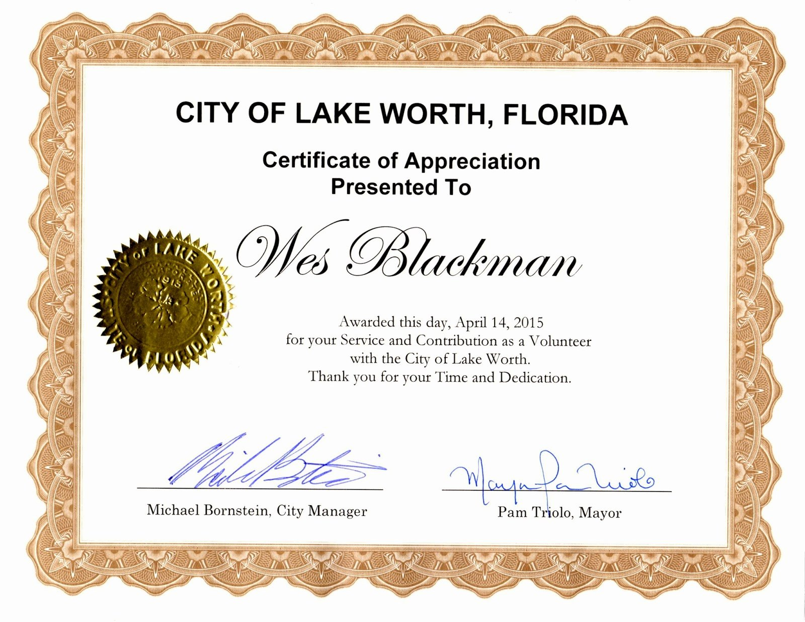 "Certificate Of Appreciation for Volunteers New ""lake Worth City Limits"" Notes News & Reviews Unique to"