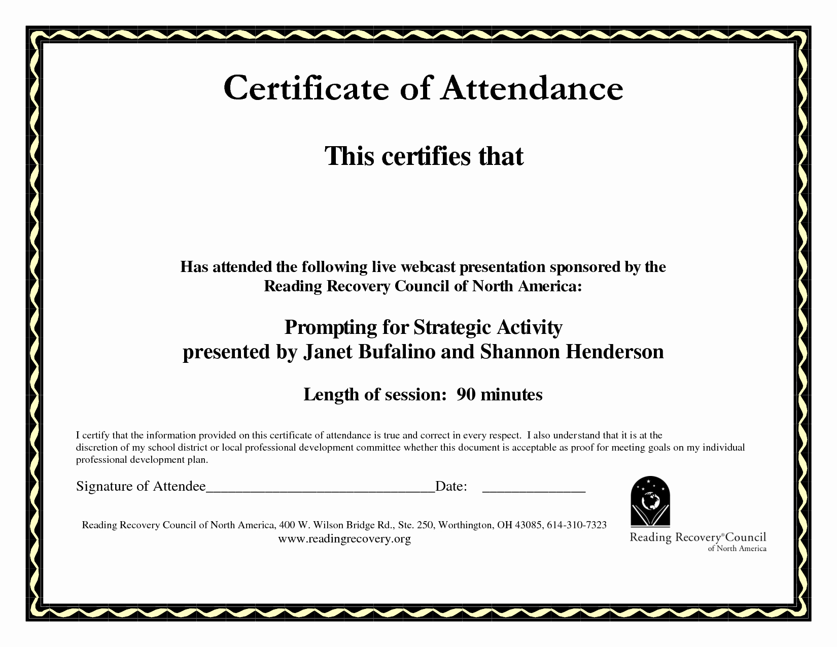 Certificate Of attendance Template Beautiful Paper Sheet Printale Editable Pdf Document