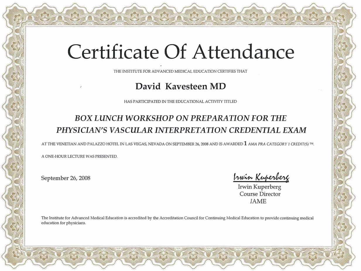 Certificate Of attendance Template Best Of 5 Certificate Of attendance Templates Word Excel Templates