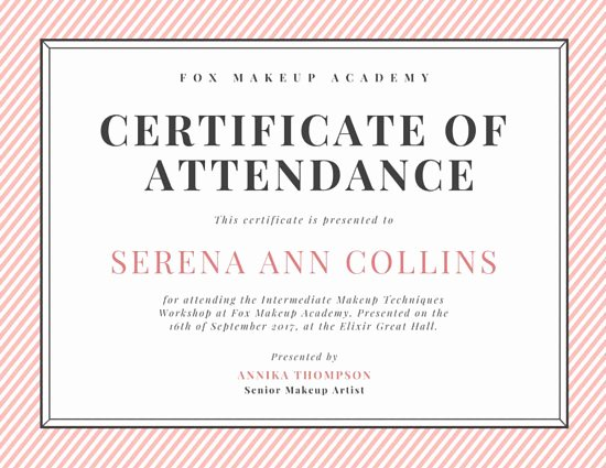 Certificate Of attendance Template Best Of Customize 48 attendance Certificate Templates Online Canva
