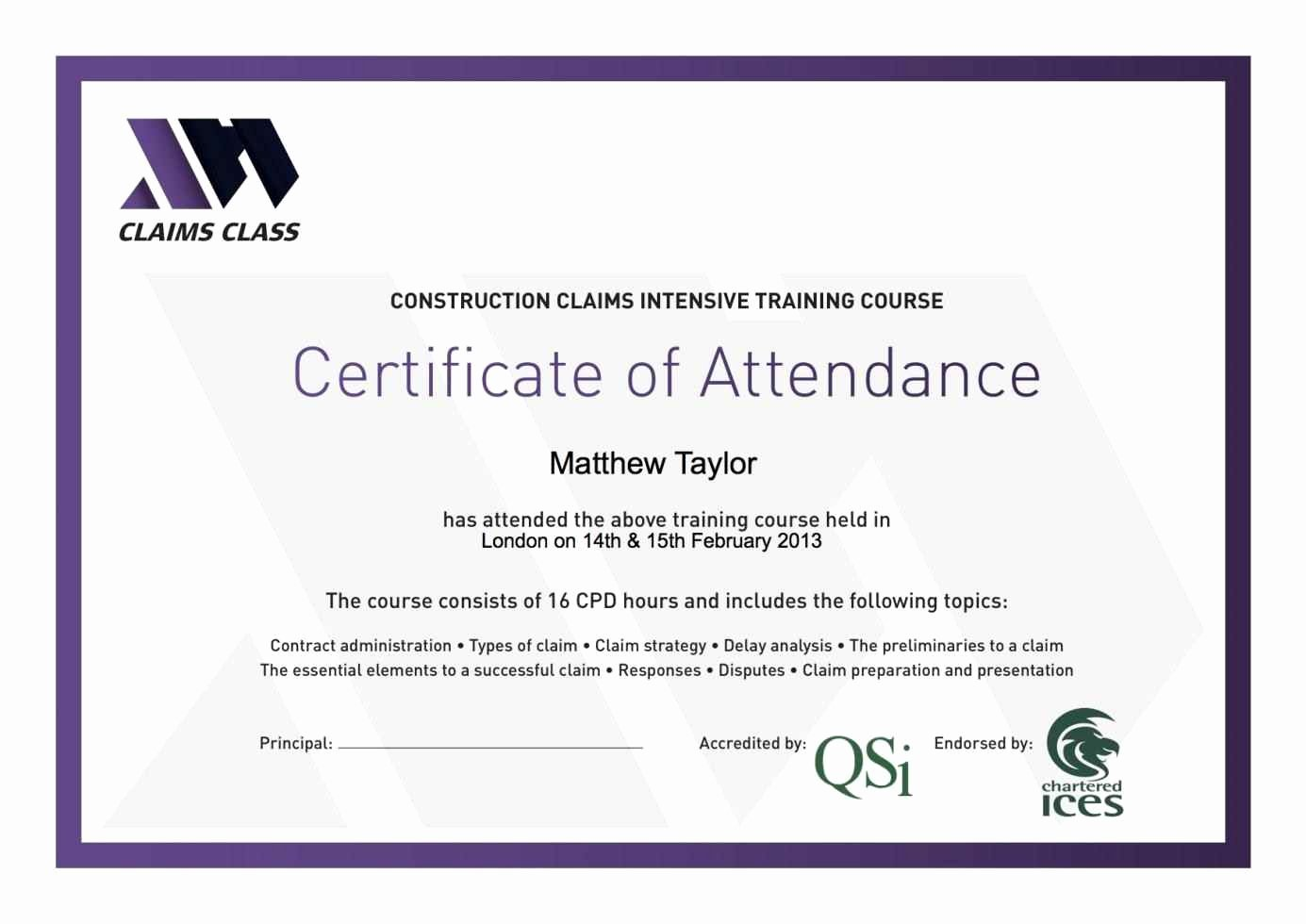 Certificate Of attendance Template Elegant Certificate attendance Template Template Update234