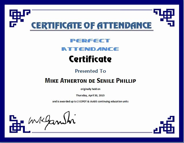 Certificate Of attendance Template Elegant Perfect attendance Certificate Template