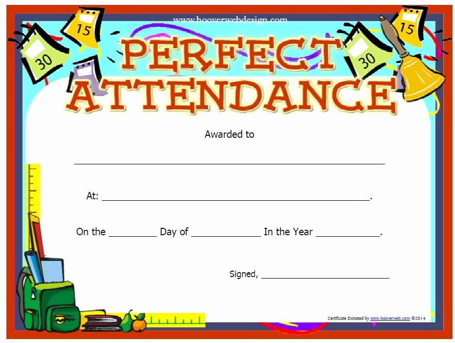 Certificate Of attendance Template Lovely 13 Free Sample Perfect attendance Certificate Templates