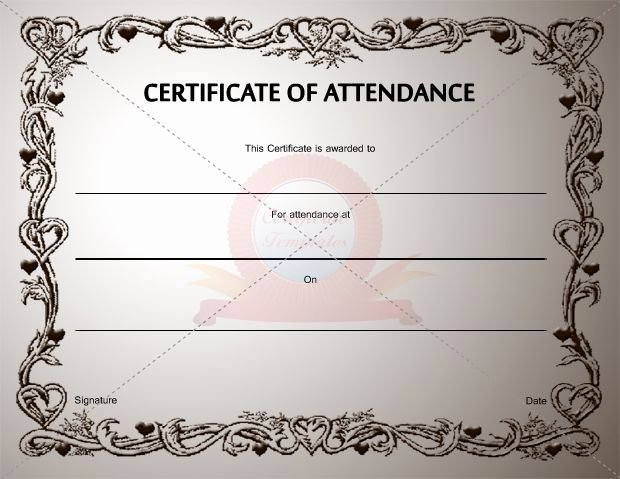 Certificate Of attendance Template Lovely Certificate Of attendance Template