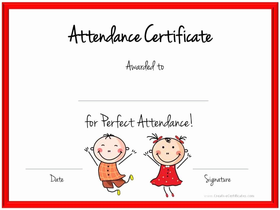Certificate Of attendance Template Unique Perfect attendance Award Certificates