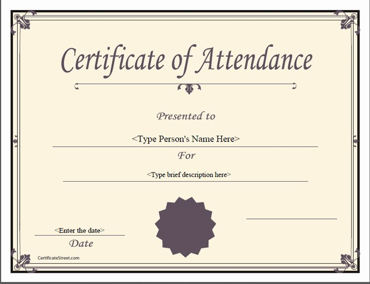 Certificate Of attendance Template Unique Quotes for attendance Certificates Quotesgram