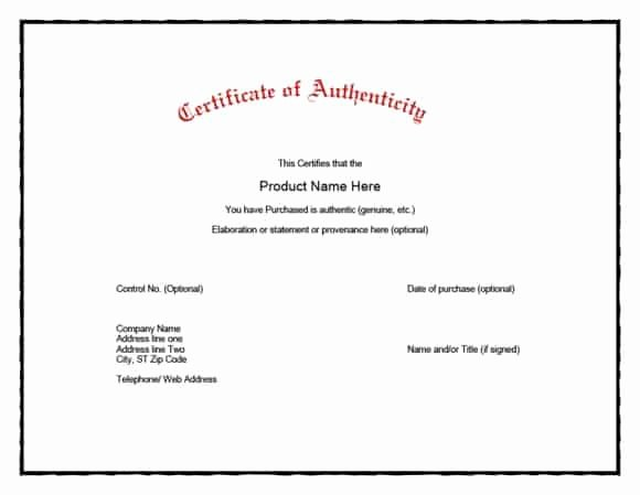 Certificate Of Authenticity form Awesome 37 Certificate Of Authenticity Templates Art Car