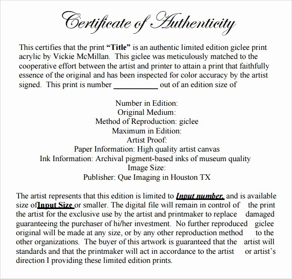 Certificate Of Authenticity form Beautiful 45 Sample Certificate Of Authenticity Templates In Pdf
