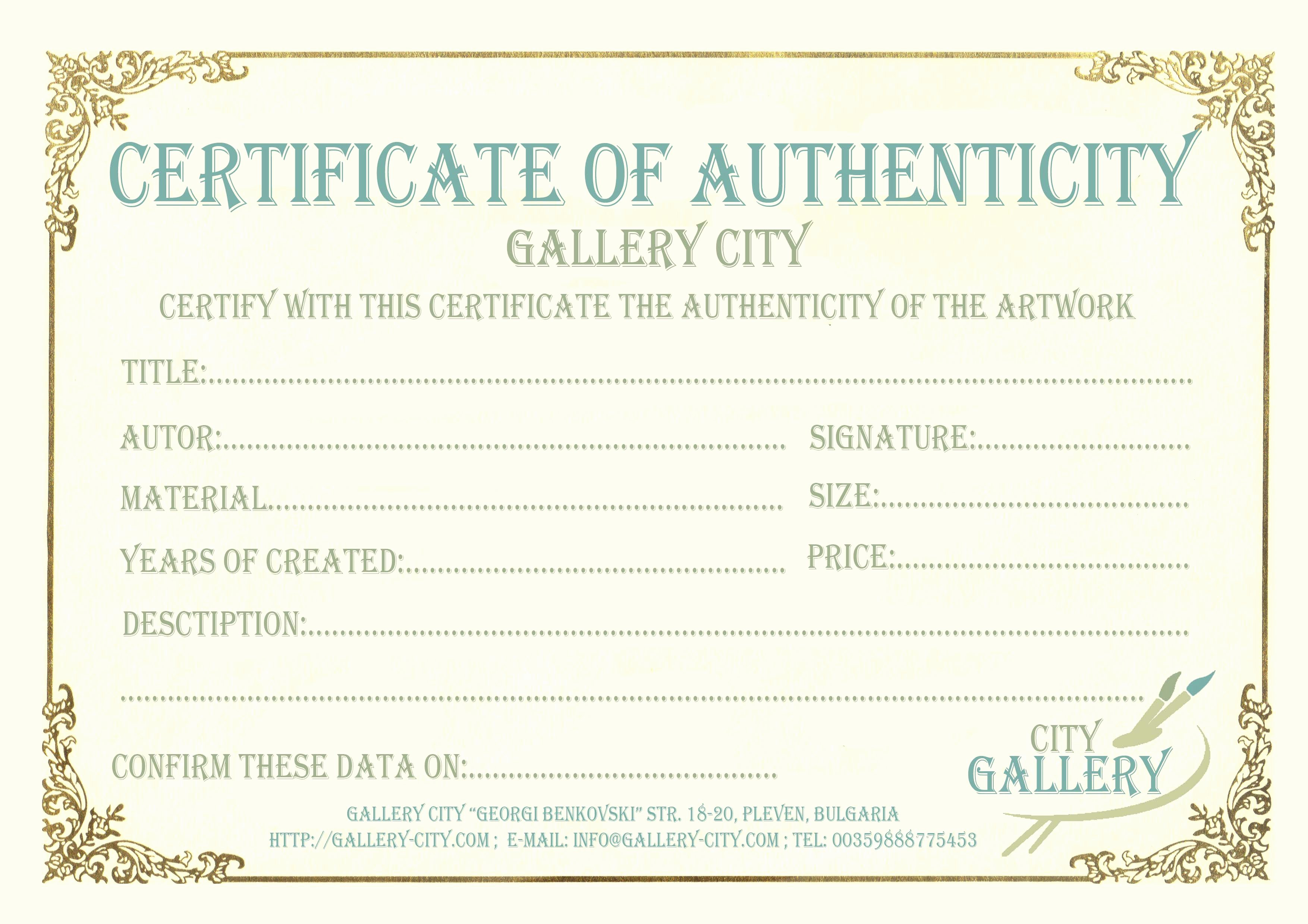 Certificate Of Authenticity form Beautiful Certificate Authenticity Template