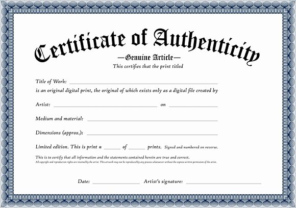 Certificate Of Authenticity form Best Of Certificate Authenticity Template