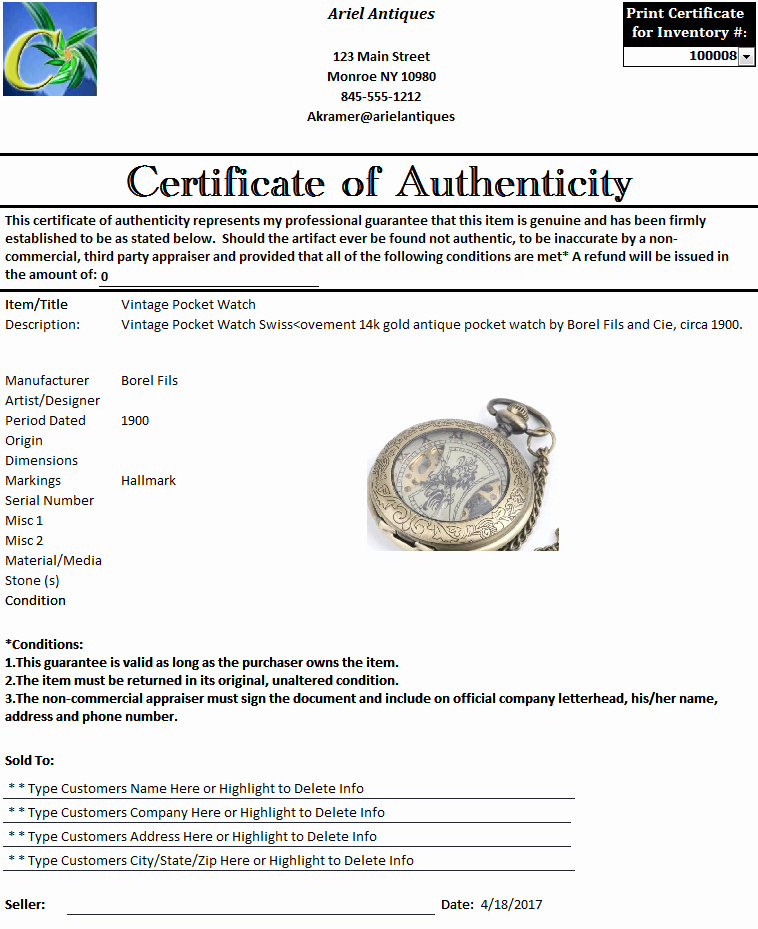 Certificate Of Authenticity form Best Of Certificate Of Authenticity