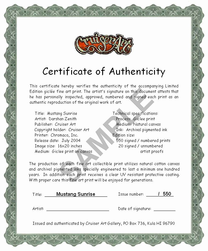 Certificate Of Authenticity form Elegant Certificate Of Authenticity Signed and Numbered Mustang