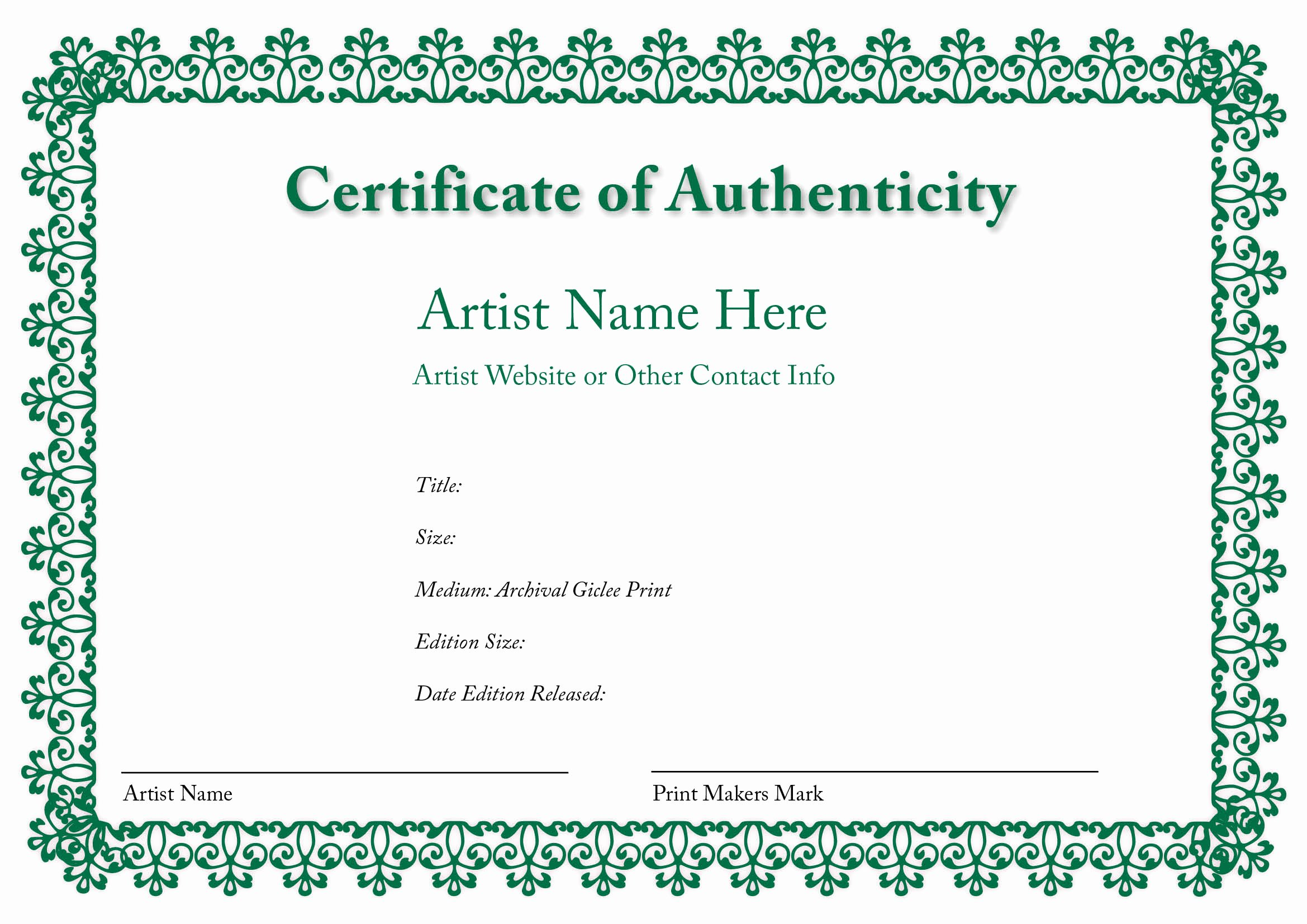 Certificate Of Authenticity form Fresh Blank Certificates Of Authenticity
