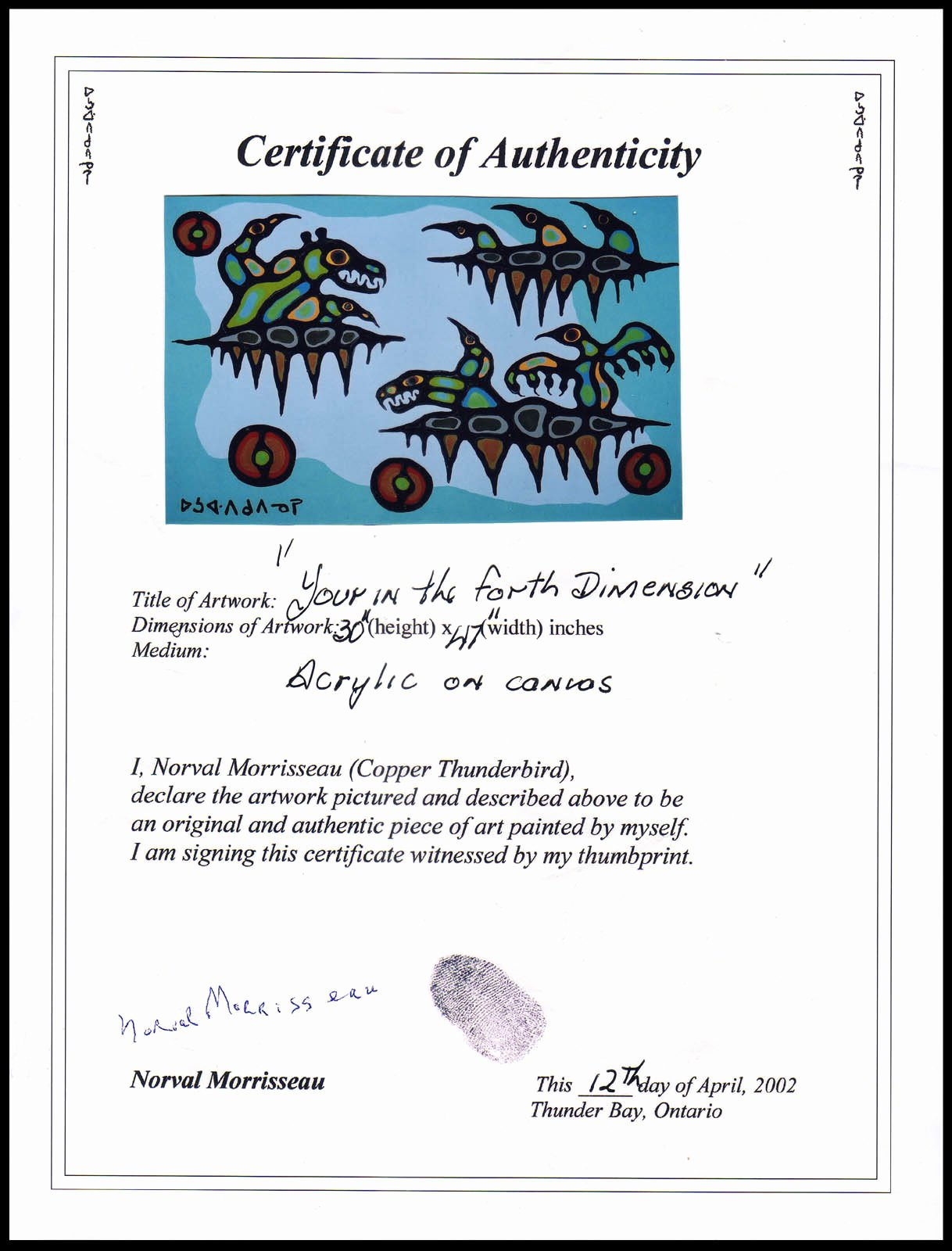 Certificate Of Authenticity form Fresh norval Morrisseau Blog Hatfield Margaret Lorraine Vs