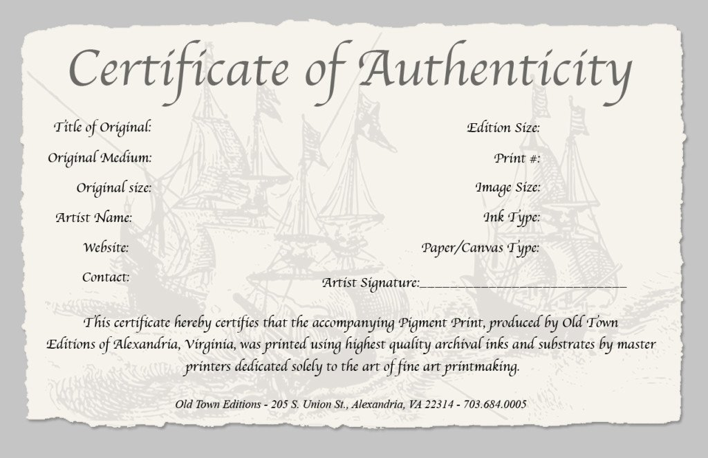 Certificate Of Authenticity form Inspirational Certificate Of Authenticity Old town Editions