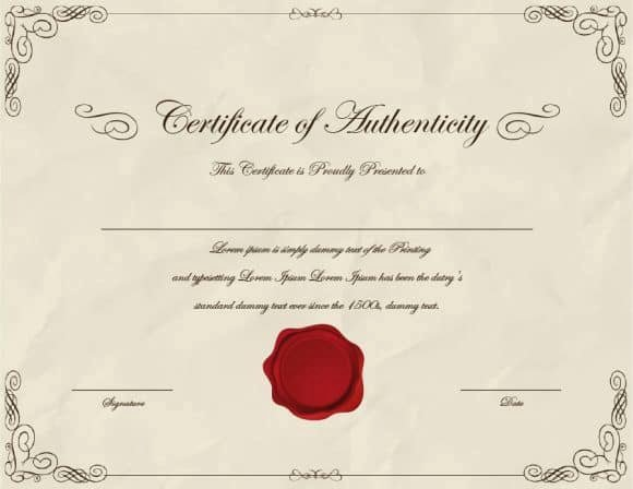 Certificate Of Authenticity form Lovely 37 Certificate Of Authenticity Templates Art Car