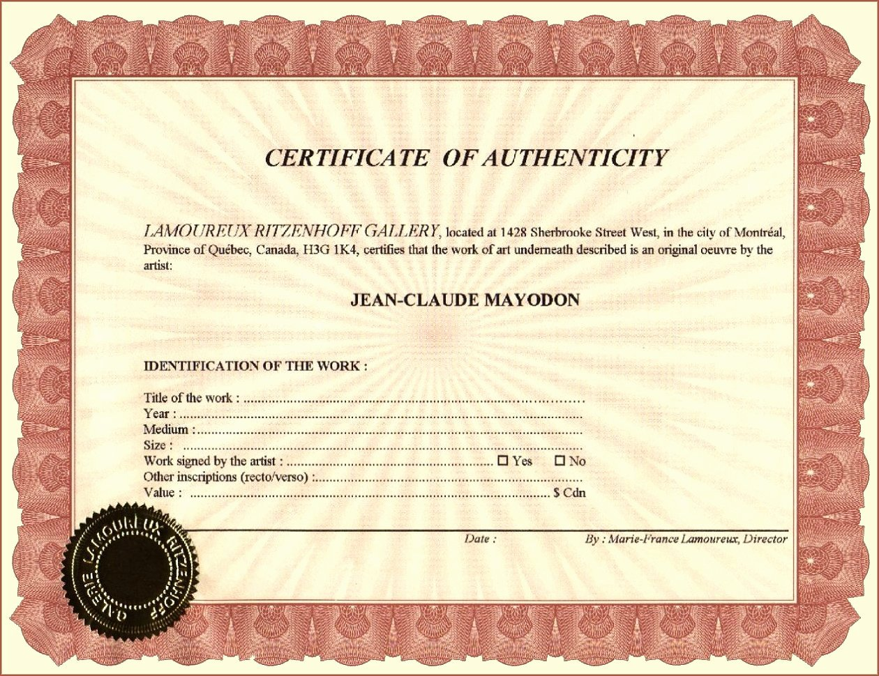 Certificate Of Authenticity form Luxury Galerie Lamoureux Ritzenhoff Certificate Of Authenticity