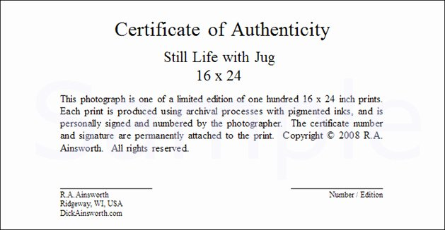 Certificate Of Authenticity form Luxury Untitled Document [ ]
