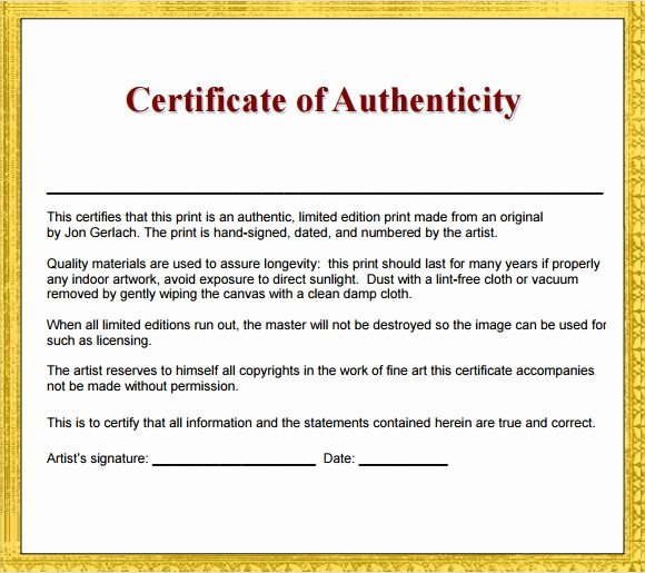 Certificate Of Authenticity form Unique 45 Sample Certificate Of Authenticity Templates In Pdf